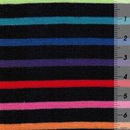 Gala: streepjestricot regenboogkleuren op donkerblauw