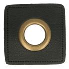 bronskleurige nestels op zwart nepleer: gat diameter 14 mm