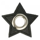zilverkleurige nestels op ster van zwart nepleer: gat diameter 11 mm