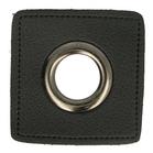 oud-zilverkleurige nestels op zwart nepleer: gat diameter 14 mm