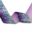 glitterband 4 cm, kleur overlopend van blauw via paars naar mintgroen