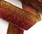 glitterband 4 cm, kleur overlopend van goud naar rood