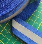 2,5 cm blauw ribsband met reflectiestreep