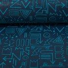 Dunne geplastificeerde katoen donkerblauw met skateboards enz in turquoise