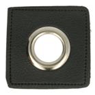 zilverkleurige nestels op zwart nepleer: gat diameter 11 mm