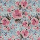 Fiete softshell: roze bloemen op lichtblauw-grijze ondergrond