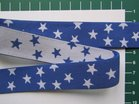 taille-elastiek 2,5 cm breed: kleine sterren wit met blauw /HALVE METER