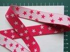 taille-elastiek 2,5 cm breed:kleine sterren wit op fuchsia /HALVE METER
