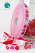 byGraziela, klavertjes-vier-band roze/rood, sierbandje