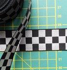 ribsband met reflecterende ruitjes / zwart