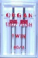 Organ 2 tweelingnaalden in één doosje 80/3