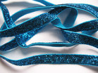 glitterelastiek turquoise 1cm breed