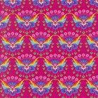 Flora: tricot met bloemenvlinders op donkerfuchsia naar een ontwerp van Jolijou