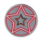 opstrijkbare applicatie:reflecterende button met rood geborduurde ster