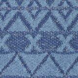 Ponte: gebreide stof met glitters in grafisch design: licht en donkerder jeansblauw/zilver_