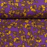 Mick, wintertricot met kleine oker bloemetjes op paars_