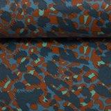 Dunne geplastificeerde katoen vlekken in terracotta, jeanskleur en blauw_