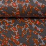 Dunne geplastificeerde katoen vlekken in terracotta, grijs en lichtgrijs_