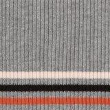 Bonnie:grijs gemeleerd met drie smalle strepen: terracotta, zwart en heel licht roze_