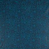 dunne geplastificeerde katoen donkerblauw met skateboards enz in turquoise_