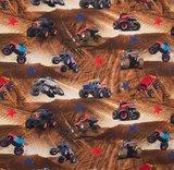 Monstertrucks in het zand / digitaal bedrukte tricot_