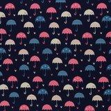 Fiete: softshell: paraplu's op donkerblauw_