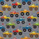 "Fiete softshell: Monstertrucks op ""gebreide jeanskleur"" _"