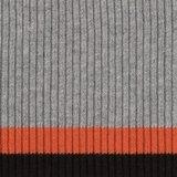 Bonnie: grijs gemêleerde boord met terra-cotta en zwarte streep_