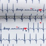 Toni: witte katoen met de tekst: keep smiling tussen cardiogram. _