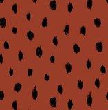 zacht geruwde wintertricot terra met getekende zwarte noppen_