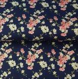 Stenzo: fijne bloemetjes op donkerblauwe katoen_