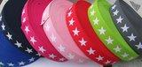 taille-elastiek 4 cm breed: sterren wit met fuchsia/ HALVE METER_