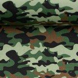 Kim: 100 % katoenen poplin camouflage army/legergroen_
