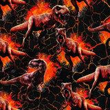 French terry/ digitaal bedrukte dino's en vlammen op zwart van JURASSIC WORLD_