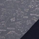 Pondero = reflecterende softshell: dino's zilver op jeansblauw (weer binnen!)_