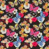 Fiete softshell: kleurige vlinders op zwart_