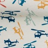 Klaas: helikopters in rood, oker, petrol, donkerblauw en lichtblauw-grijs op wolwitte tricot_