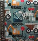 biologische katoenen tricot: bouwvoertuigen op licht jeansblauw_