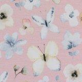 Theo: tricot roze met vlinders in waterverfkleuren_
