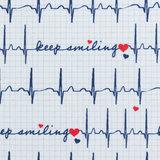 Toni: ECG print op witte katoen met tekst: keep smiling_