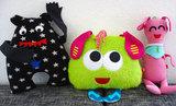 Knuffelvriendjes, patroon van drie monsterknuffeltjes_