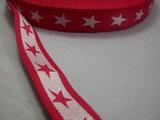 tassenband met sterren 4 cm breed: rood/wit_