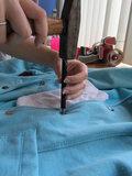 5 bronskleurige broekhaken met spijkerknoop plus gereedschap_