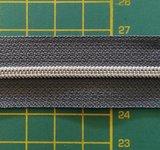 rits aan de meter, gemetalliseerd zilverkleurig op grijs 4mm_