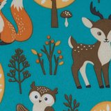 coupon 90 cm: Sheldon: dieren uit het bos op petrol softshell, winddicht en waterafstotend_