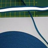 1 cm breed ribsband met reflecterende streep op turquoise/blauw _