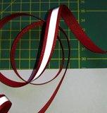 1 cm breed ribsband met reflecterende streep op rood_
