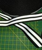 2 cm breed ribsband met twee reflecterende strepen op zwart_