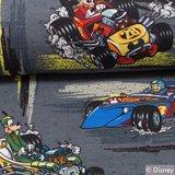 Tricot met Disney's Mickey in raceauto's op grijs_