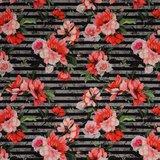 Matti: digitaal bedrukte tricot: rood/roze bloemen op grijs/zwarte strepen_